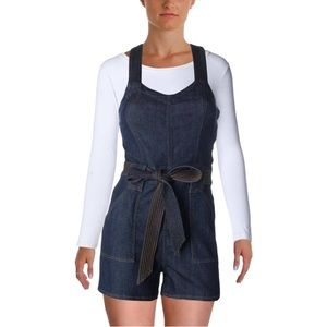 7 For All Mankind V-Neck Dark Wash Jean Romper